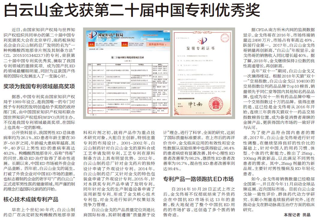 白云山金戈获第二十届中国专利优秀奖